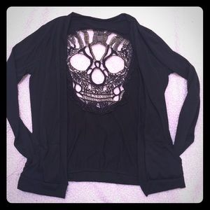 Sweaters - 💀 cut out back  black lightweight cardigan